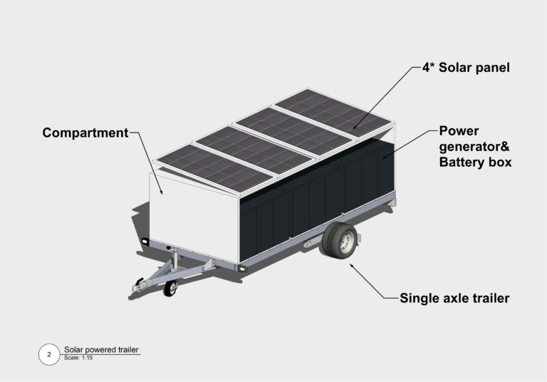 Solar panel trailer 3D