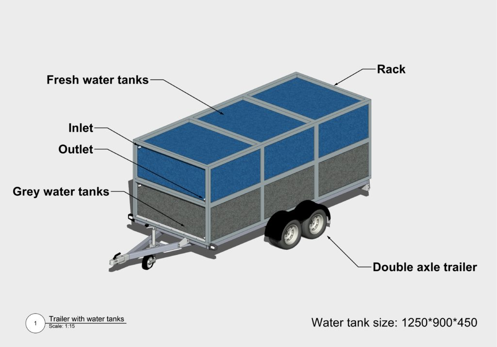 Water tanks trailer 3D